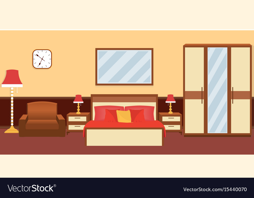 Bedroom interior in warm colors with furniture vector image