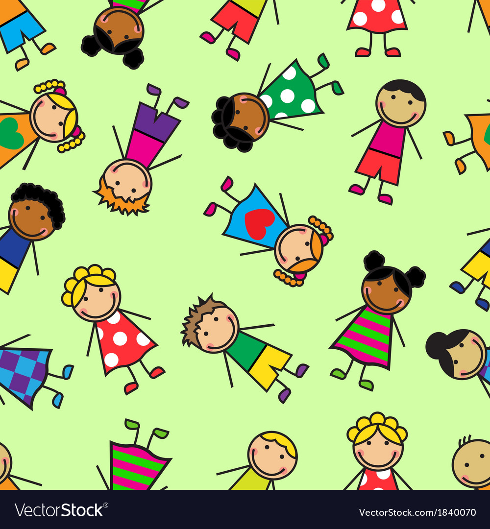 Cartoon seamless pattern with children