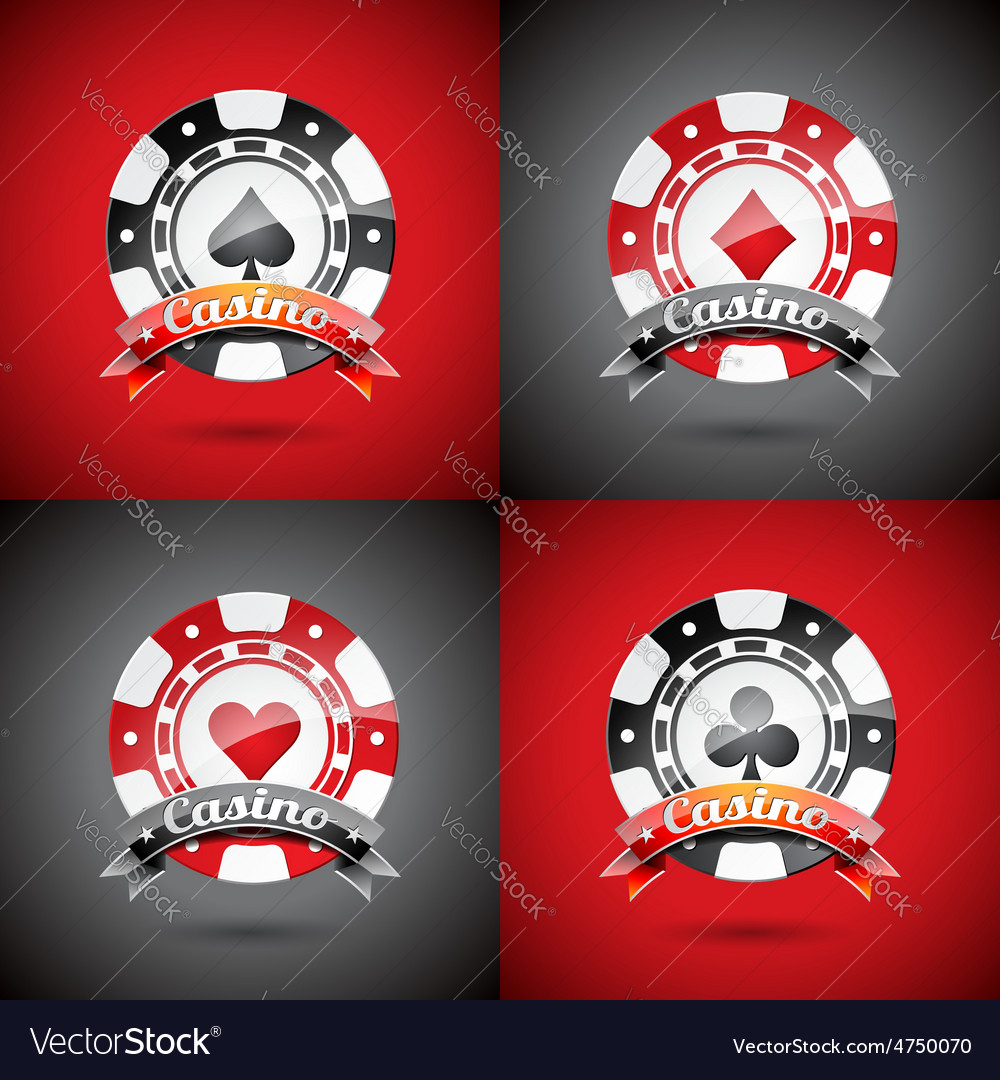 Casino with playing chips set