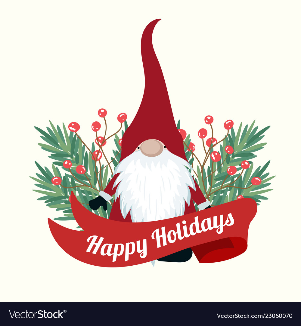 Christmas Card With Tree Branches And Gnome Vector Image