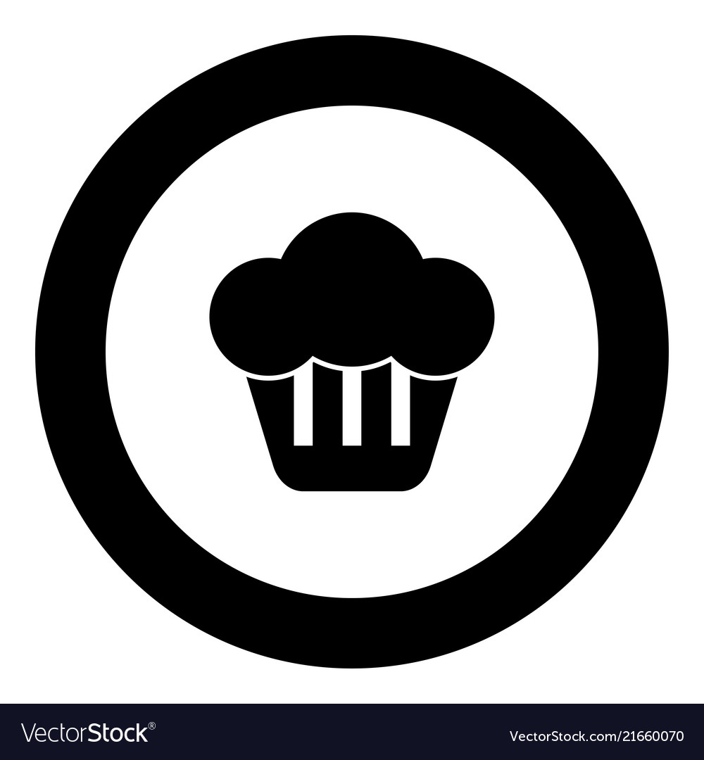 Cupcake icon black color in round circle