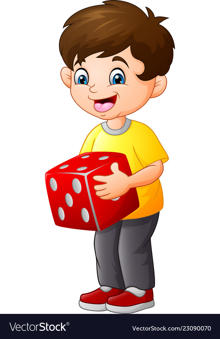 Cute little boy holding red dice