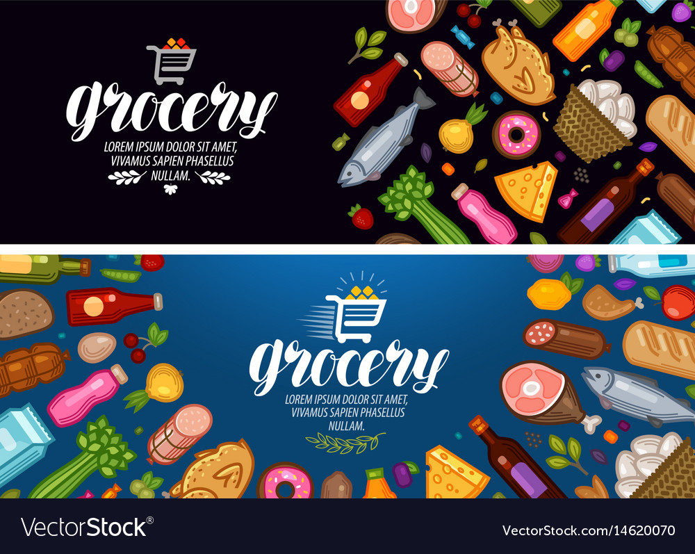 Grocery store banner food and drinks label vector image