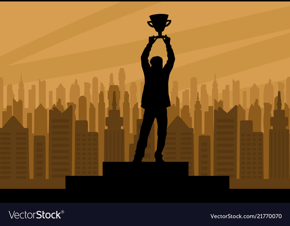 Human champion silhouette with cup
