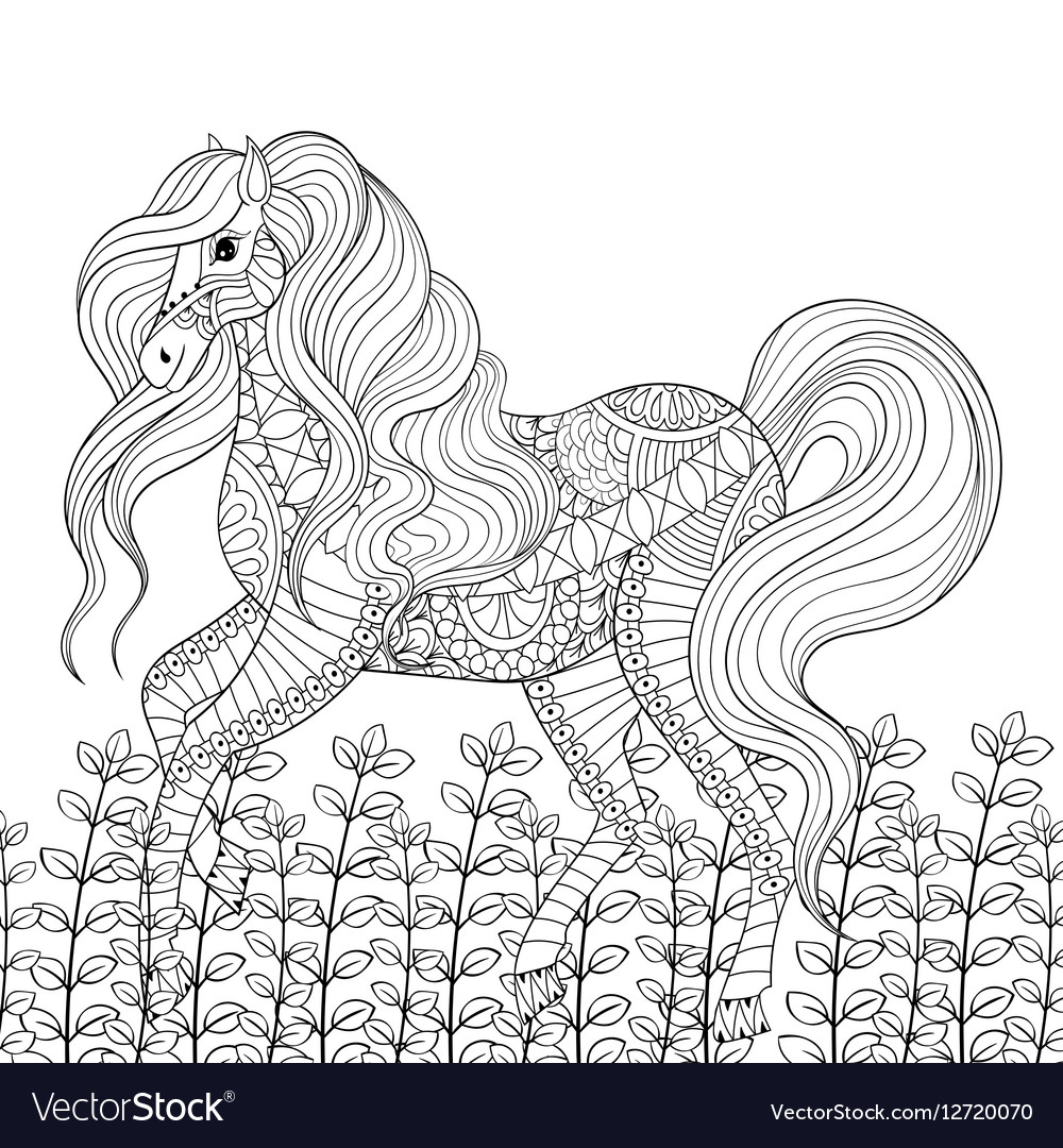 Racing horse adult anti stress coloring page Hand Vector Image
