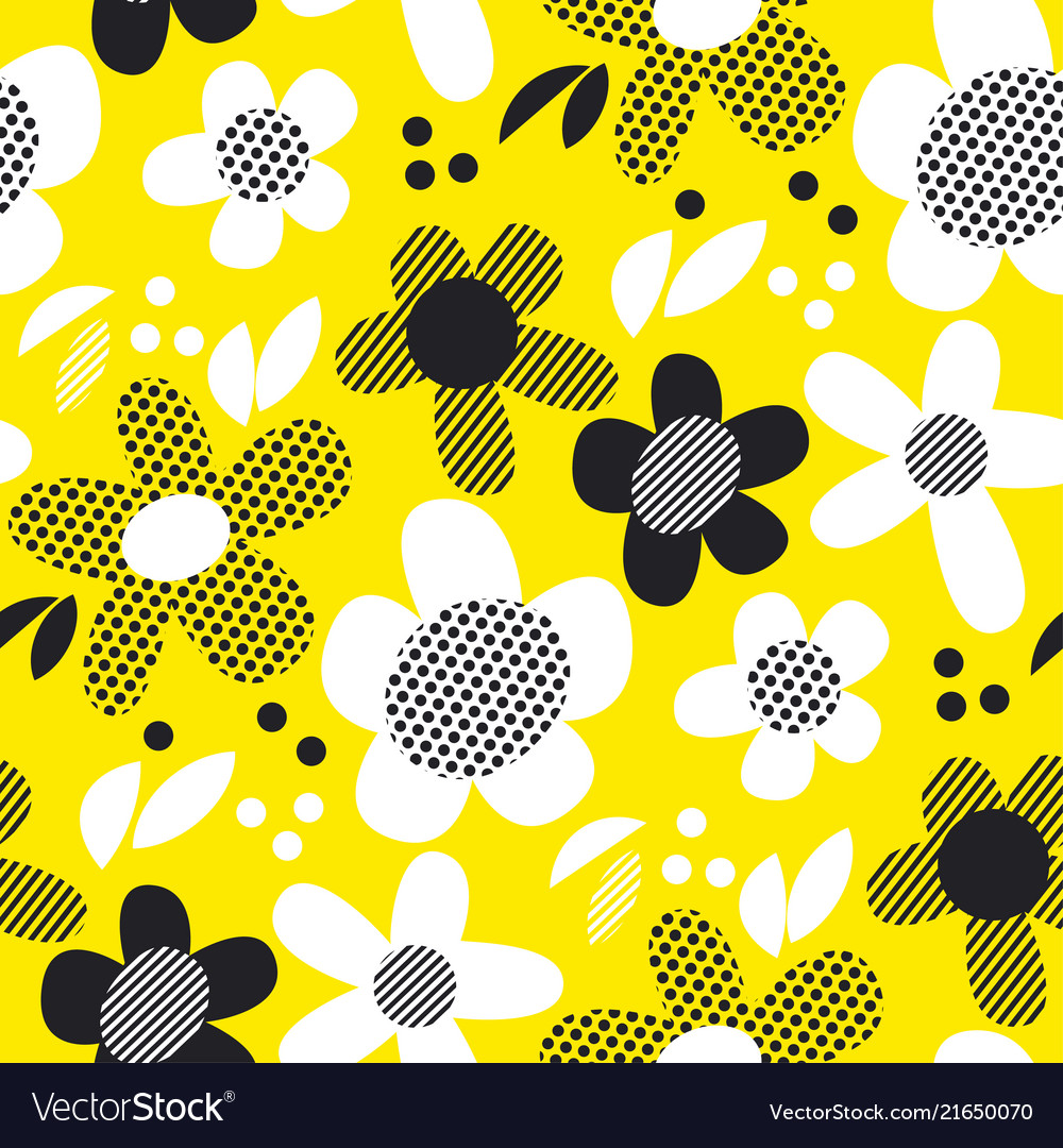 Yellow And Black Textures Flowers Royalty Free Vector Image