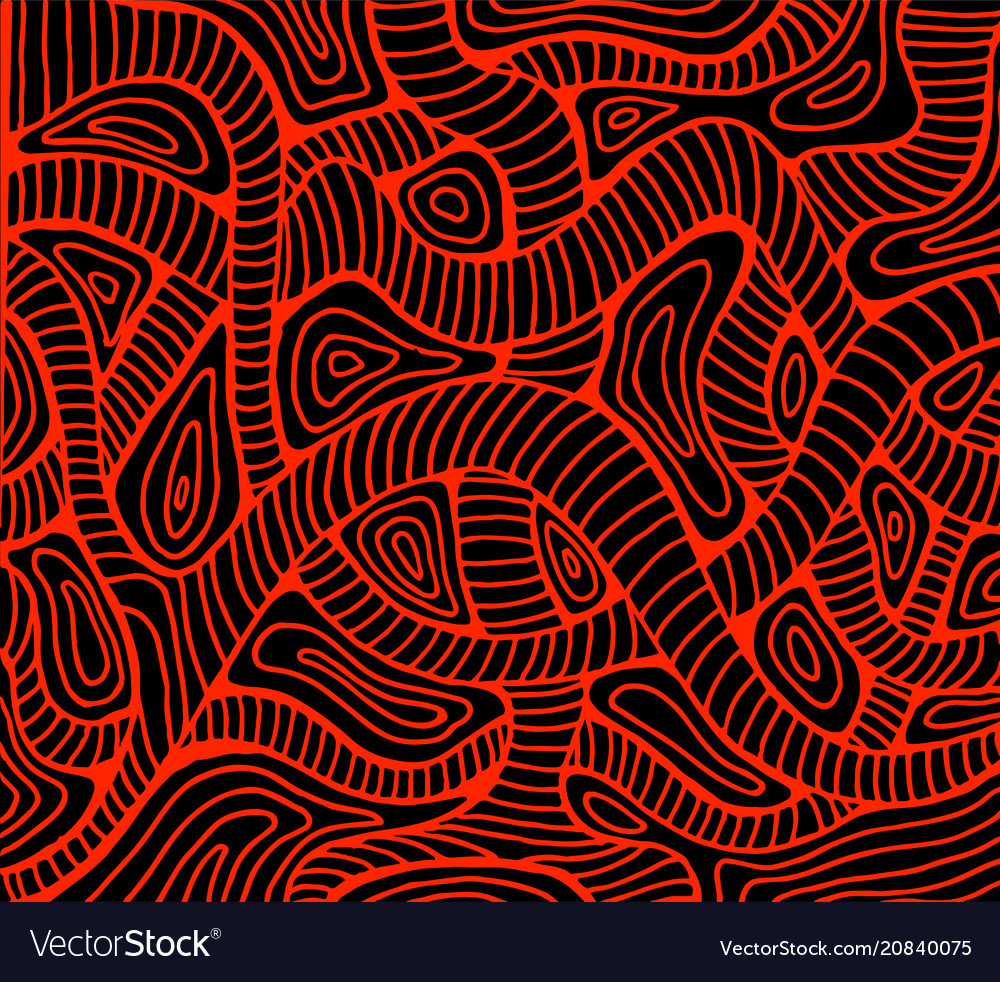 Abstract wave red color outline black background