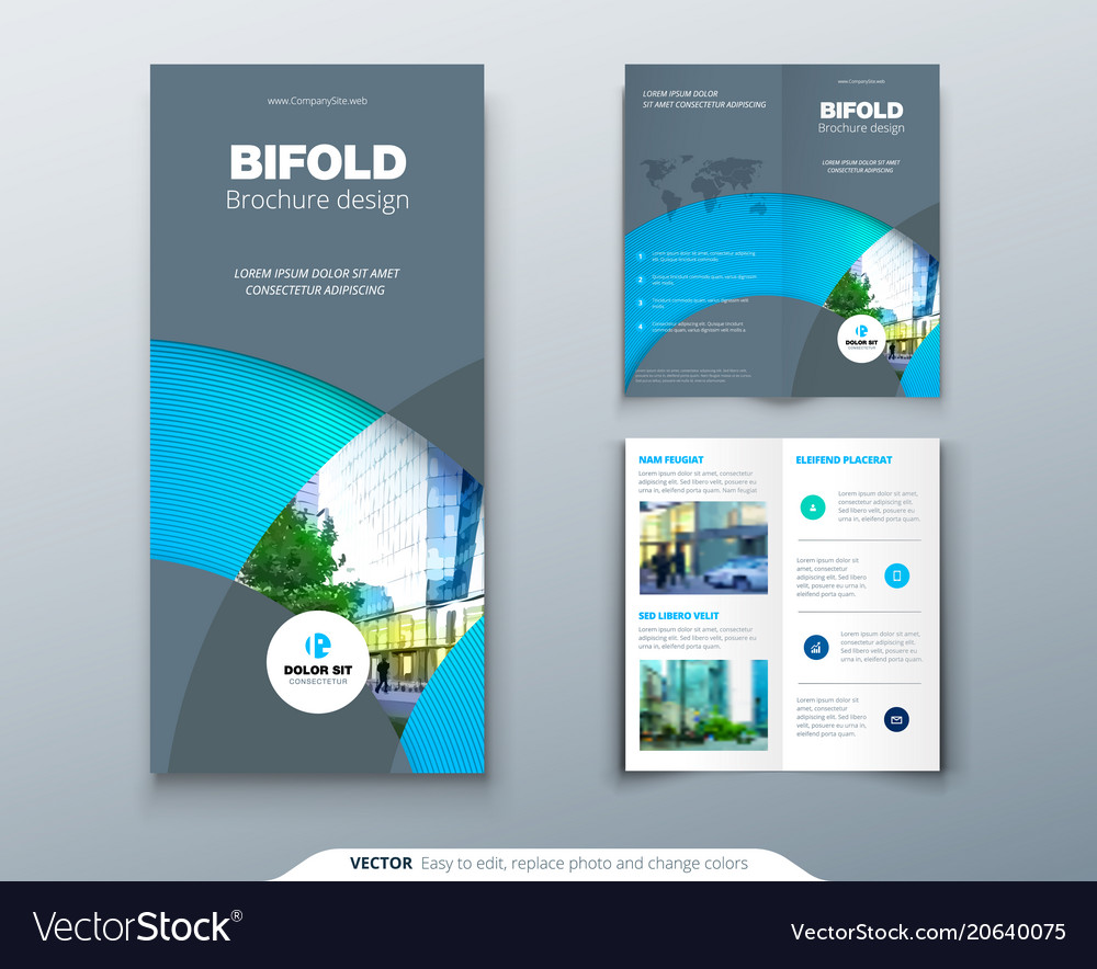 Bi fold brochure or flyer design with circle