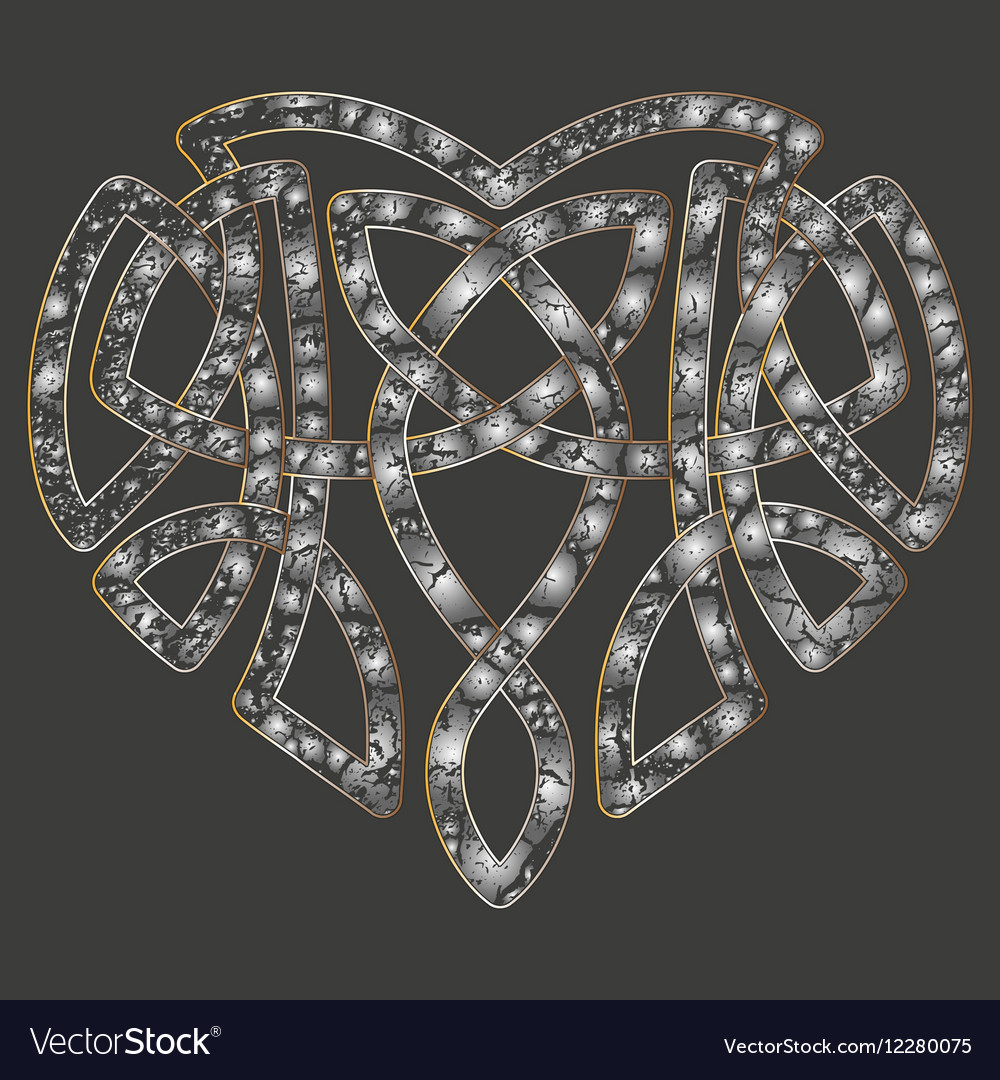 Celtic heart intertwine knot ethnic symbol