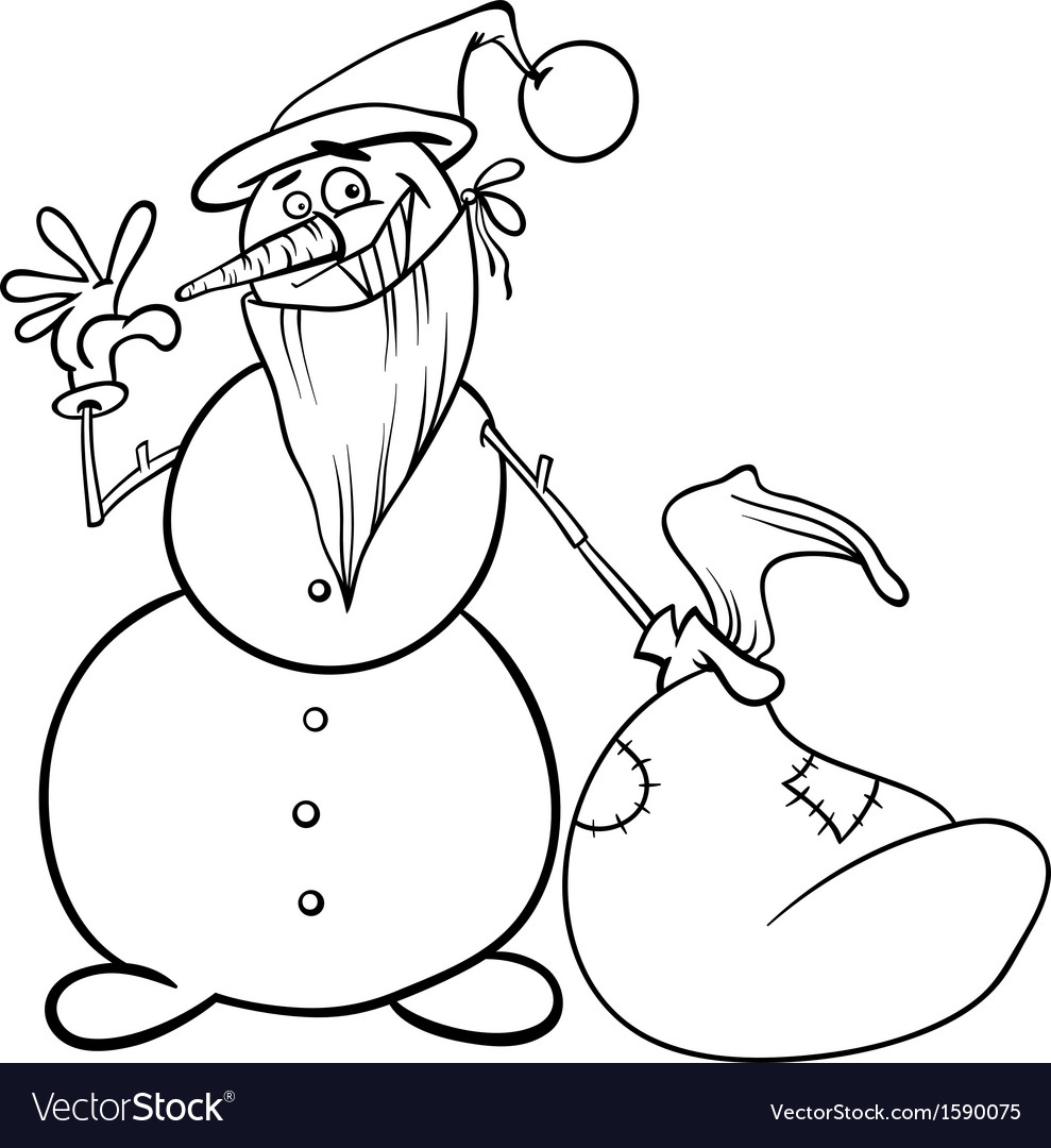 christmas snowman for coloring book vector image