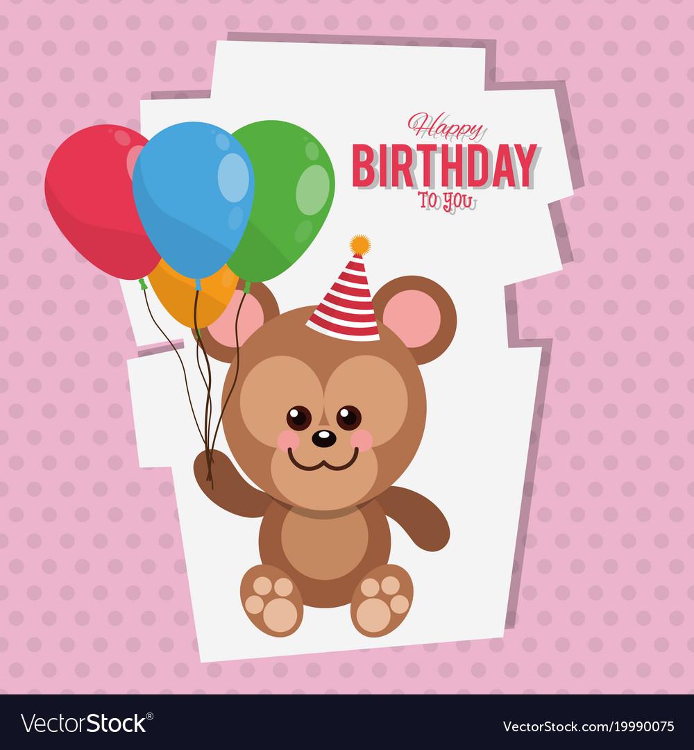 Happy Birthday Monkey Cartoon Card Royalty Free Vector Image