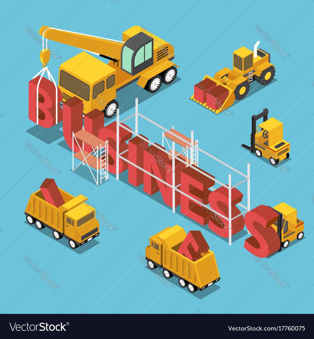 Isometric construction site vehicles buildding