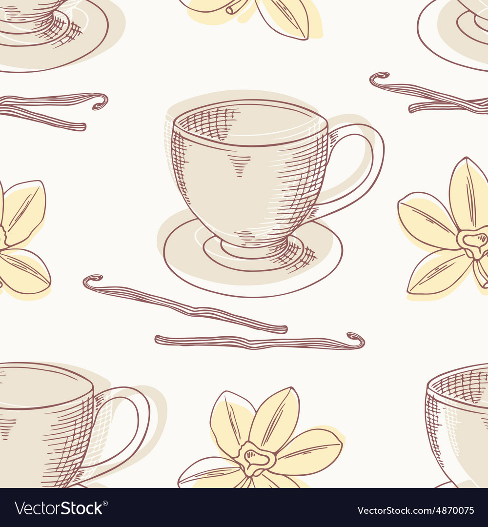 Outline coffee cup with vanilla seamless