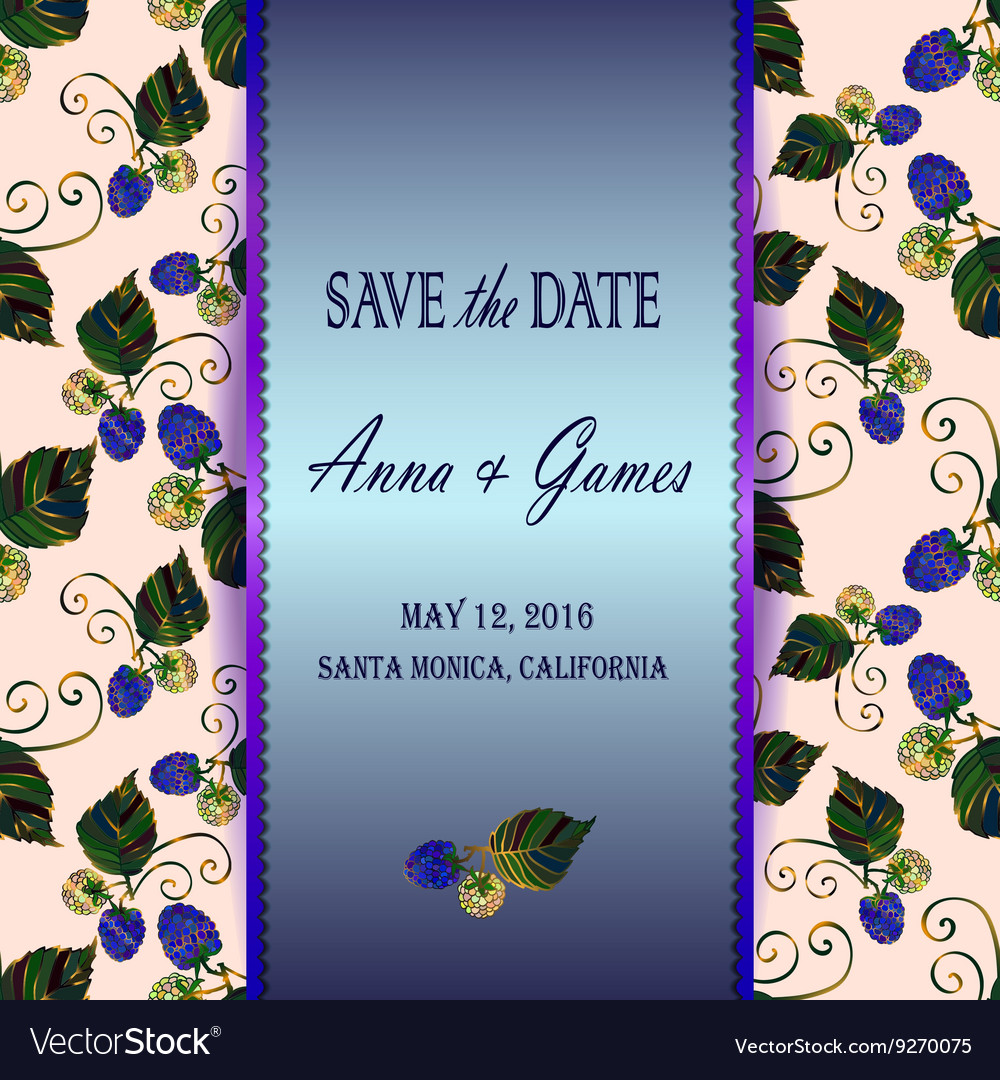 Save the date card with blackberry