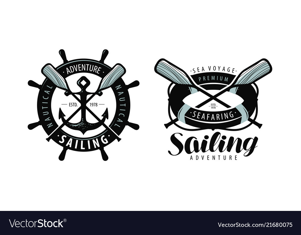 Seafaring sailing logo or label marine concept