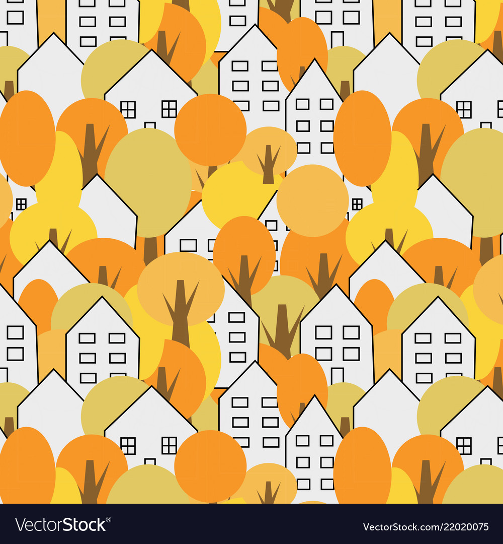 Trees and houses seamless pattern autumn fall