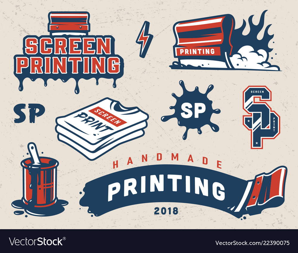Vintage screen printing colorful composition