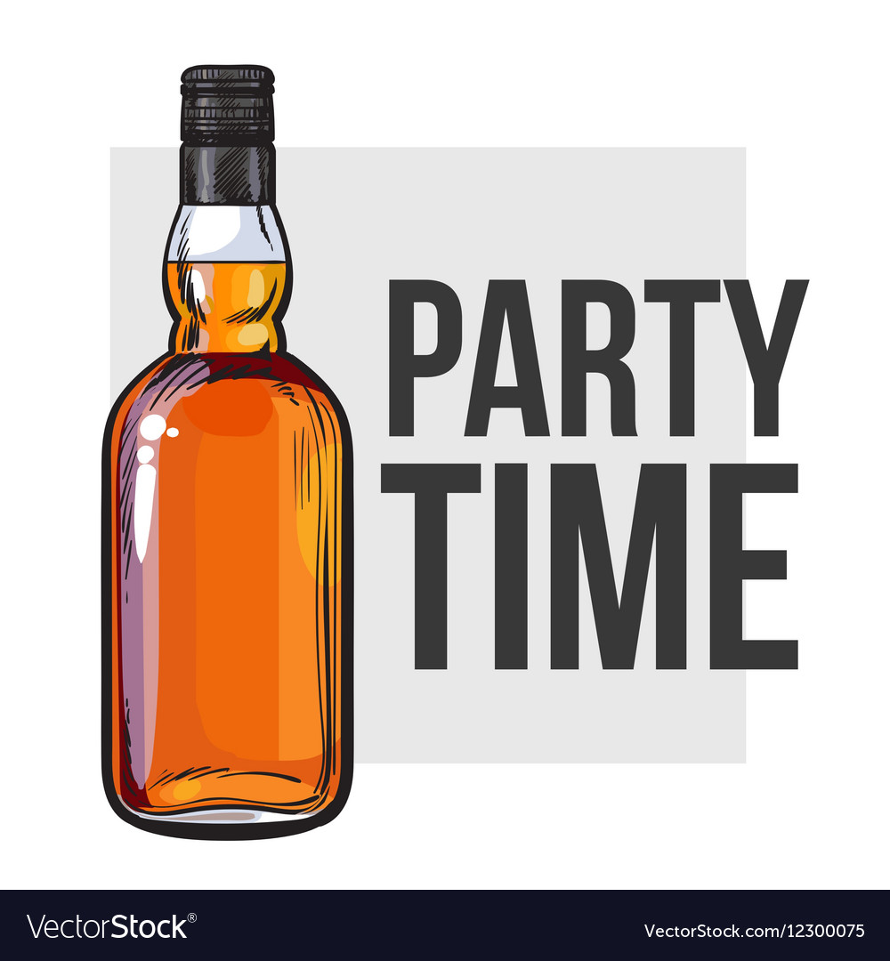 whiskey bottle and hand holding a glass royalty free vector