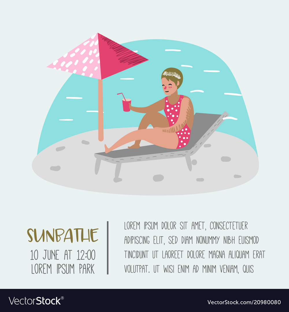 Beach vacation poster banner woman sunbathing