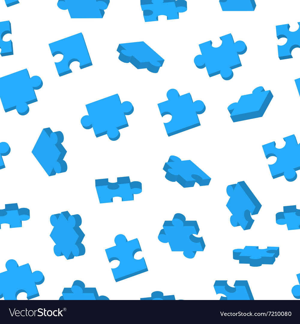 Blue Jigsaw pieces in different positions on white