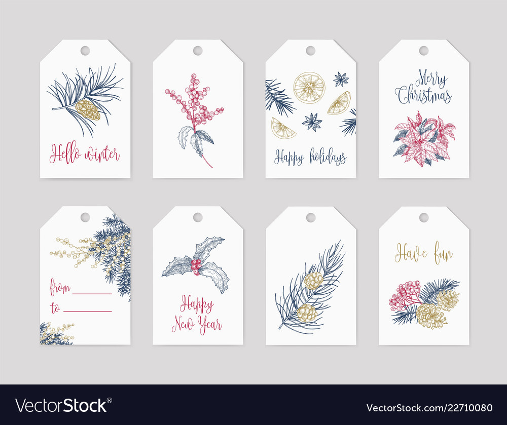 Bundle winter holiday label or tag templates