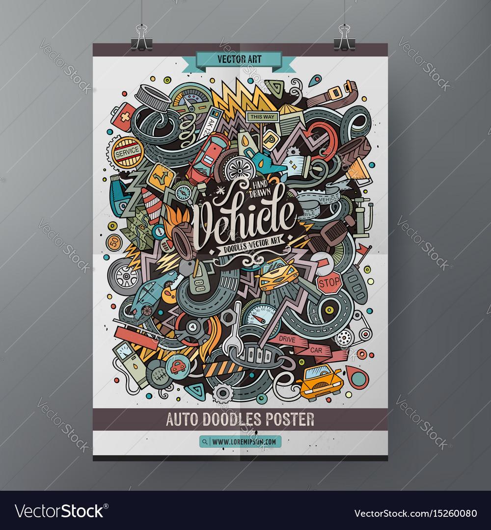 Cartoon doodles vehicle poster vector image