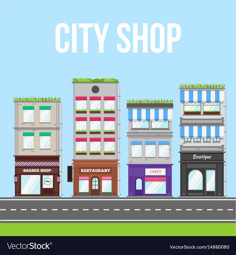 City street with shop cafe and restaurant vector image