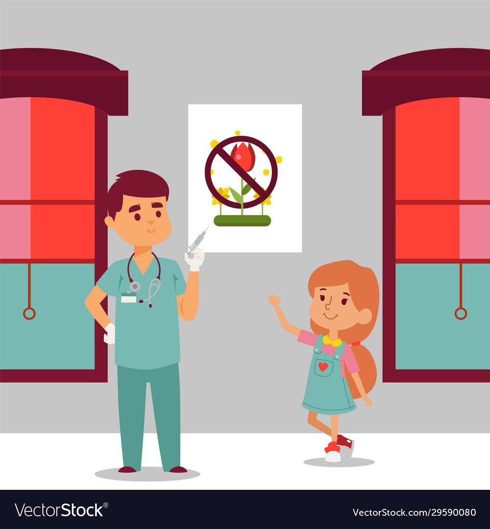 Doctor with syringe and smiling little girl icon