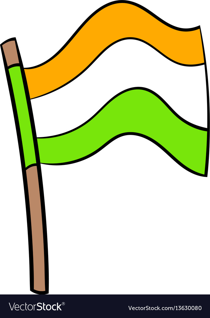 Flag of india icon cartoon