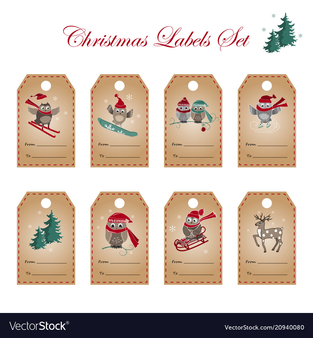 Greeting labels with owls deer and fir tree