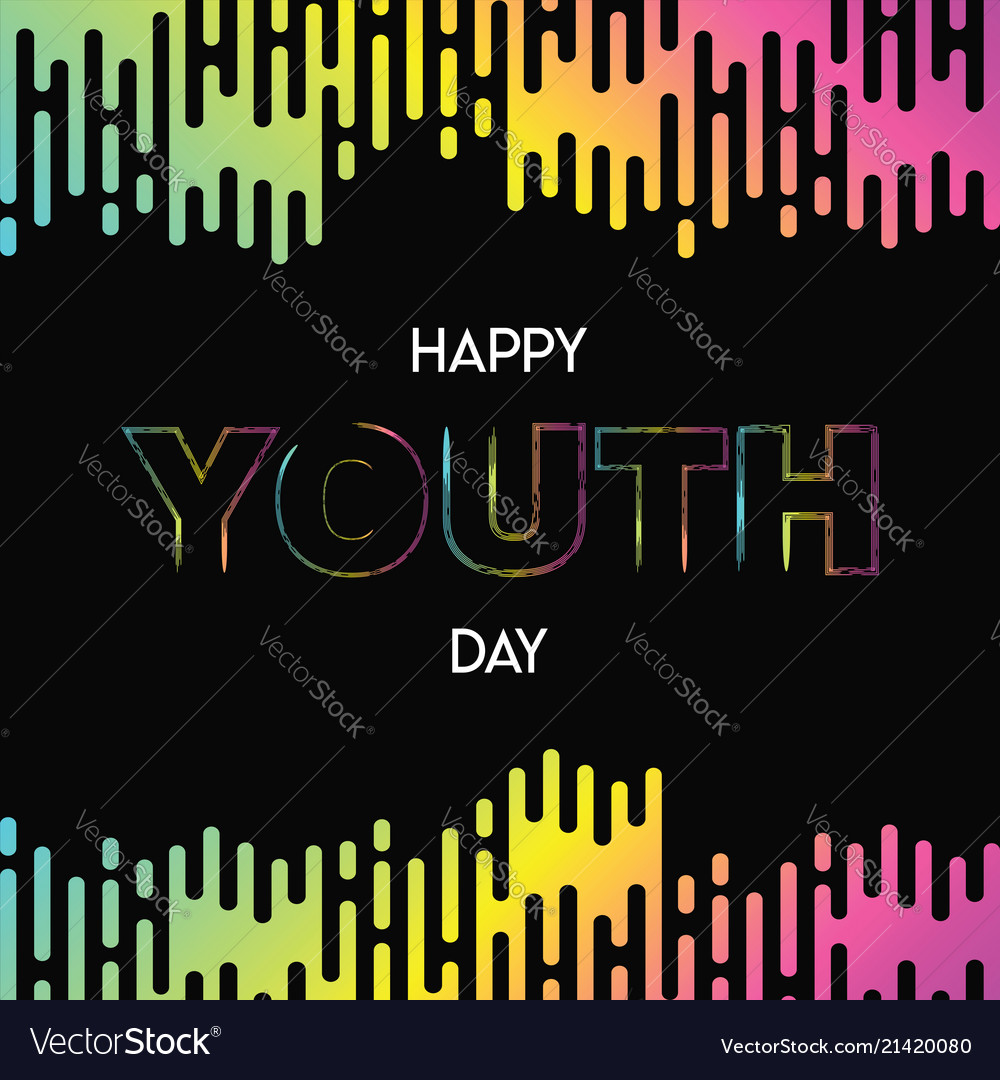 Happy youth day abstract glow gradient card