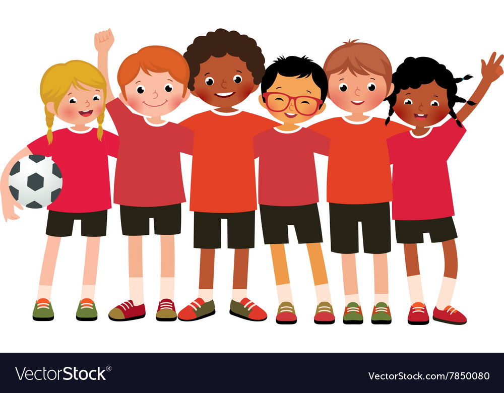 International group kids soccer team Royalty Free Vector