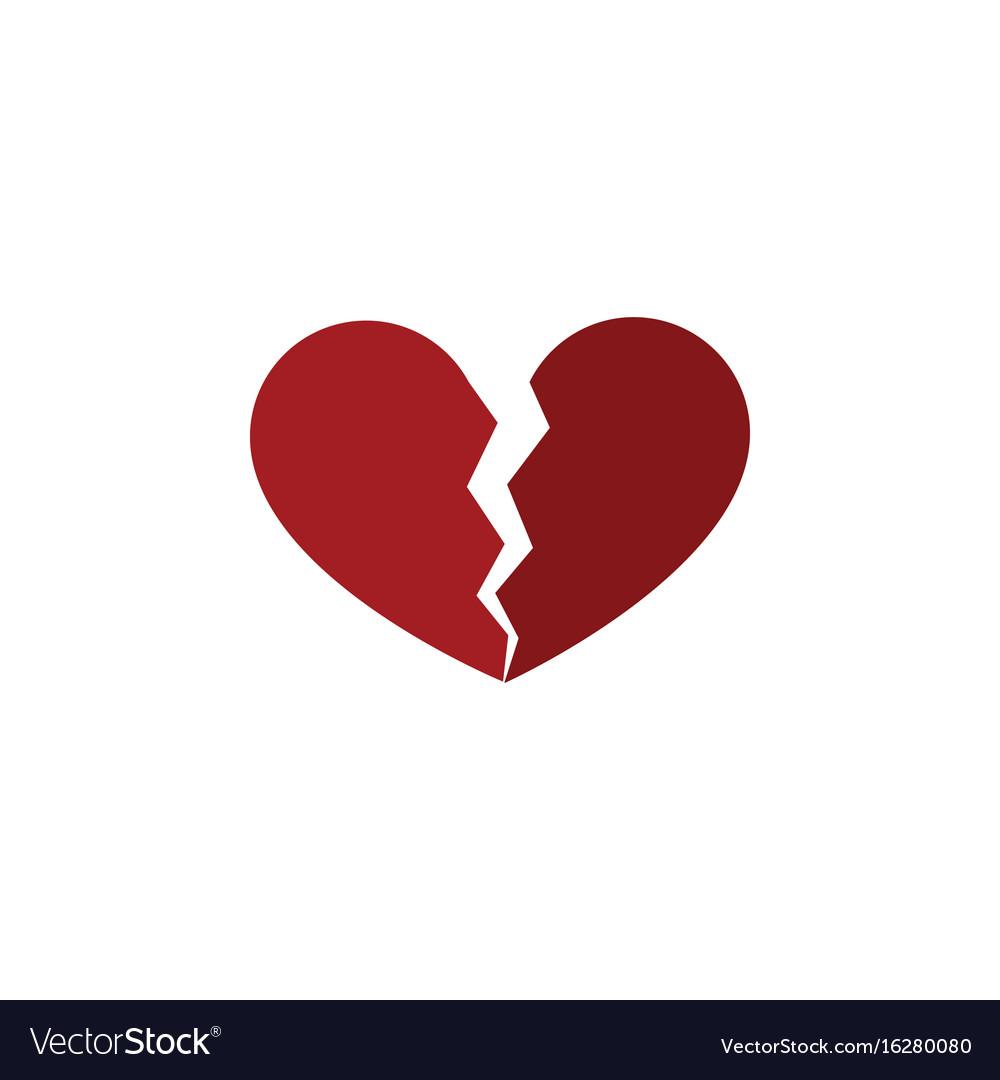 Isolated broken heart flat icon divorce