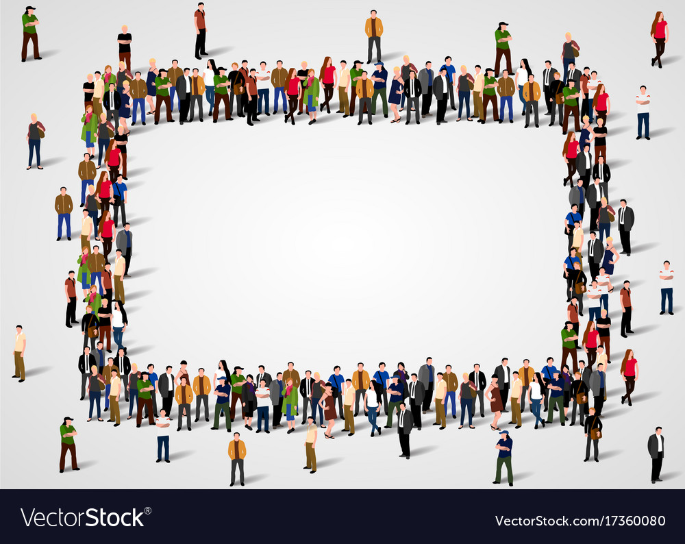 Large group of people crowded in square frame on Vector Image
