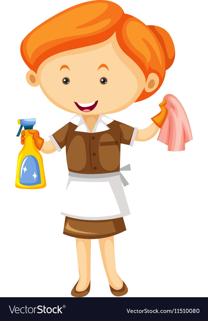 Maid with cleaning cloth and spray bottle
