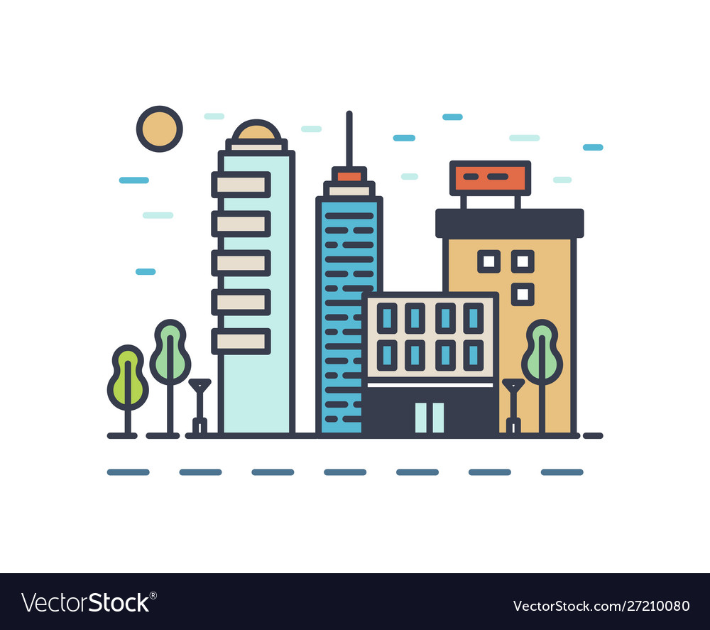 Modern cityscape with various buildings linear