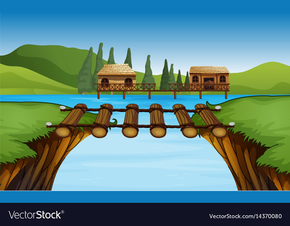 Scene with two huts by the lake vector image