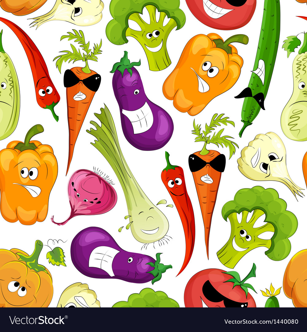 Seamless pattern funny vegetable