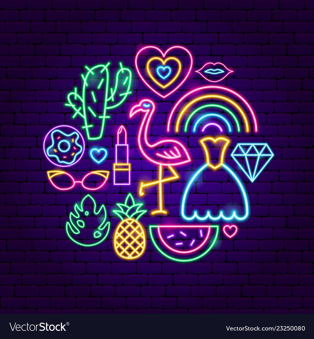 Trendy girl neon concept