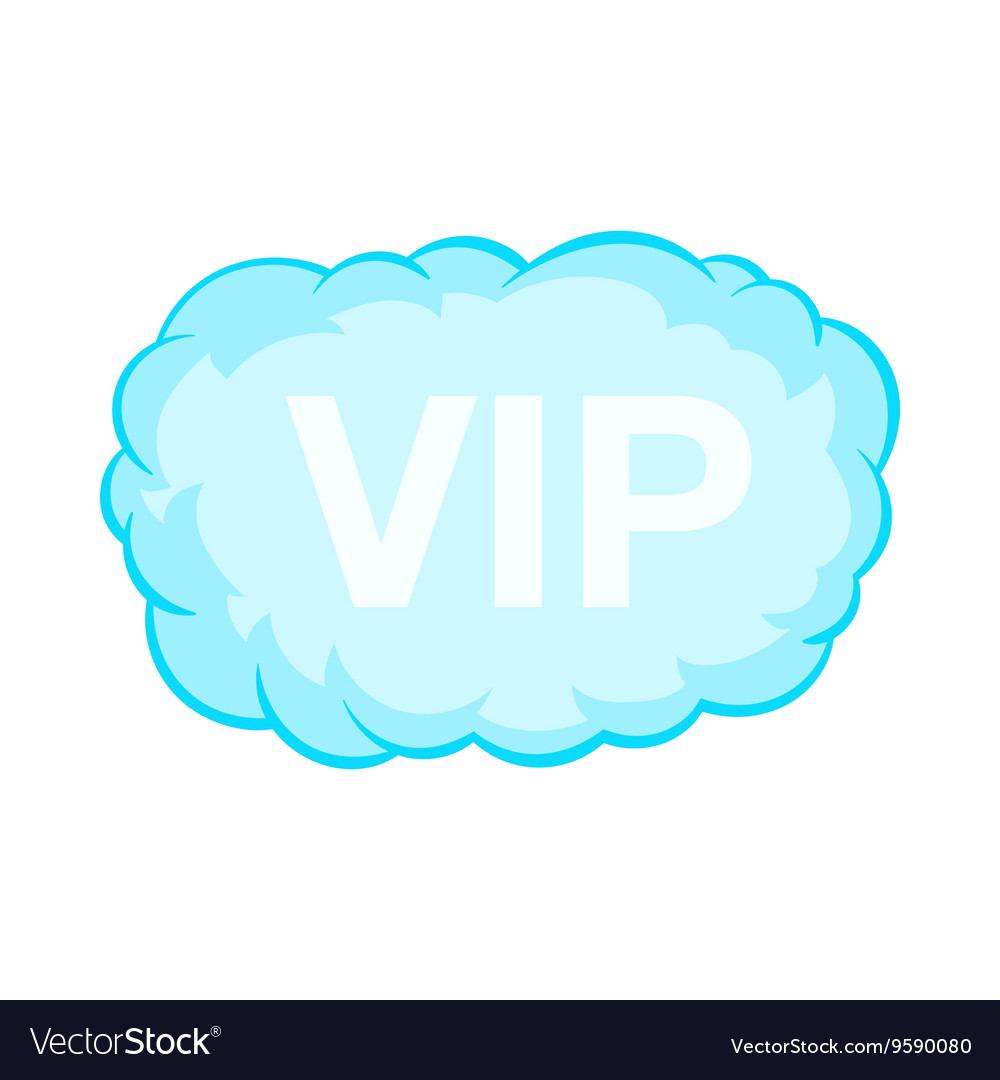 VIP word in a cloud icon cartoon style