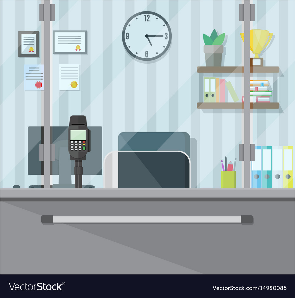 Bank teller workplace vector image