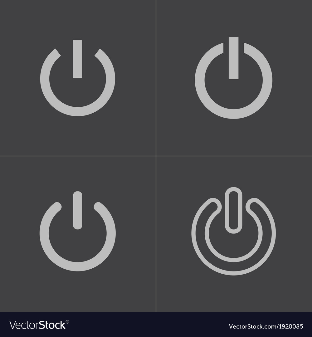 Black shut down icons set vector image