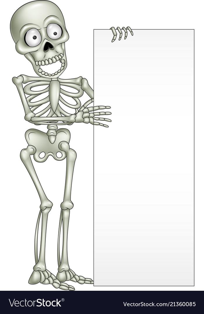 Cartoon Skeleton Holding Blank Sign Royalty Free Vector