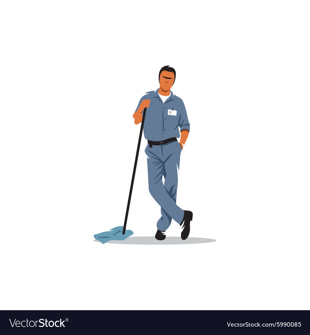 Cleaning service sign Mature man with a mop to vector image
