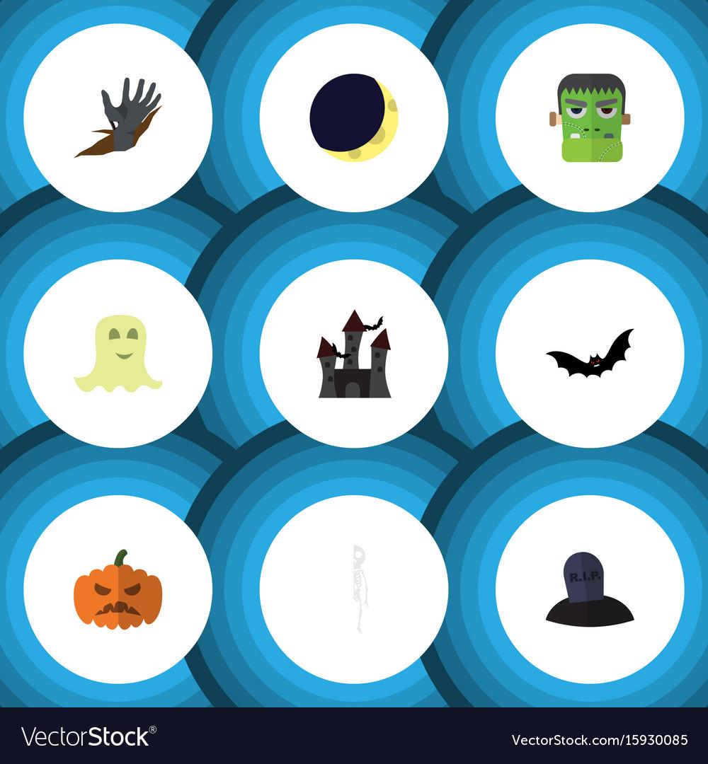 Flat icon celebrate set of zombie pumpkin