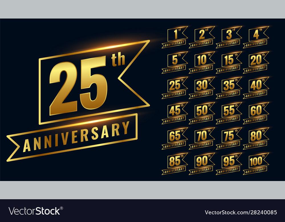 Golden happy anniversary premium labels logotype