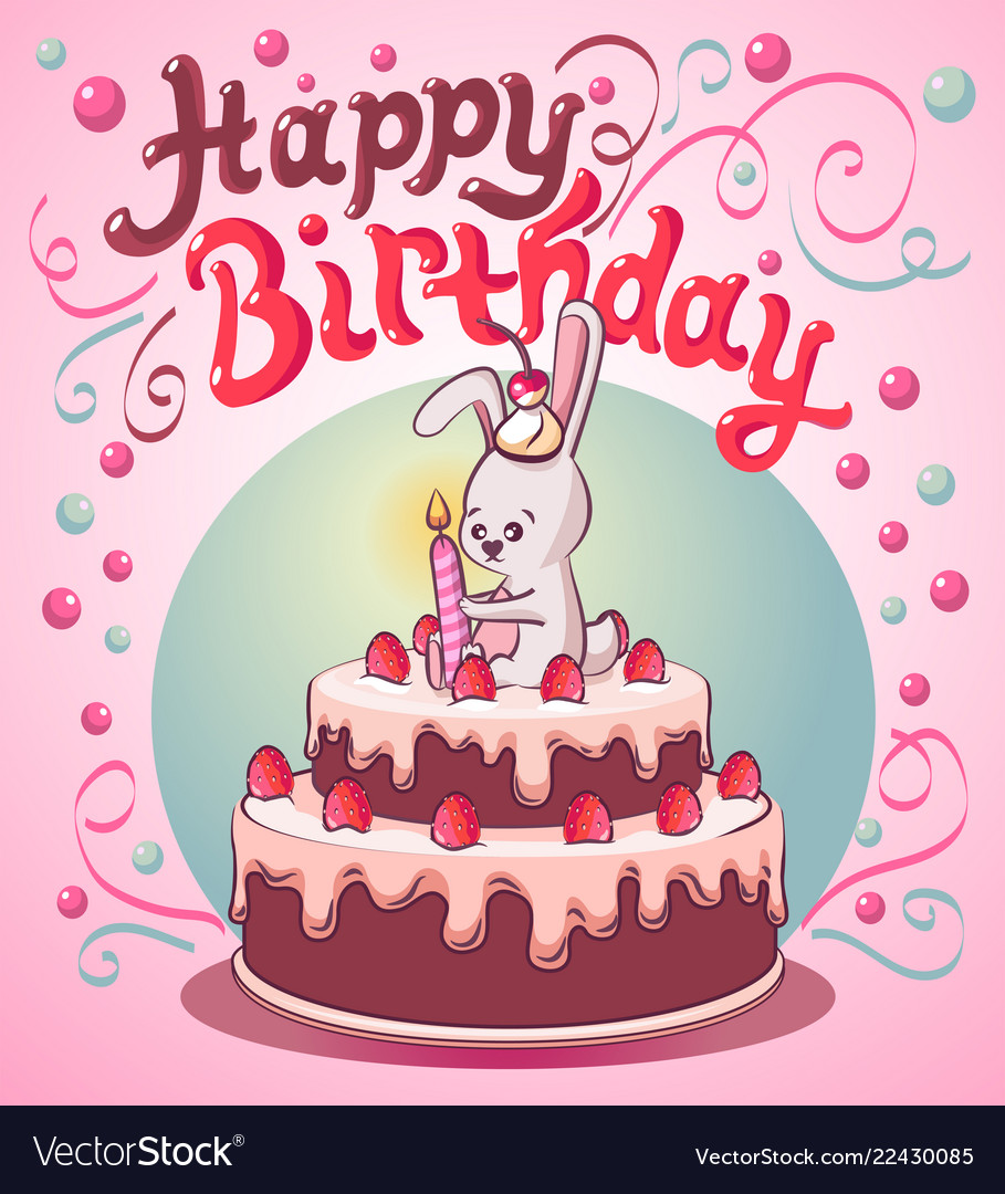 Stupendous Happy Birthday Cake With Little Bunny And Candle Vector Image Funny Birthday Cards Online Eattedamsfinfo