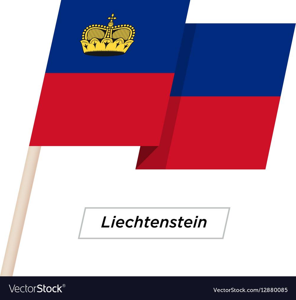 Liechtenstein Ribbon Waving Flag Isolated on White vector image
