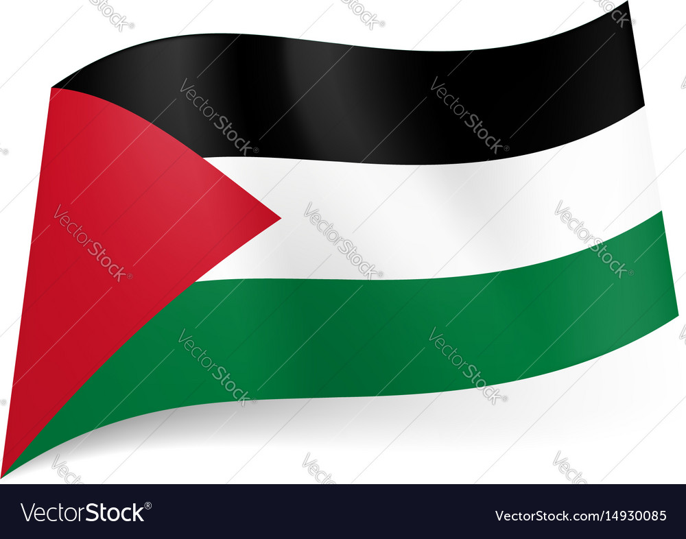 National flag of palestine black white and green vector image