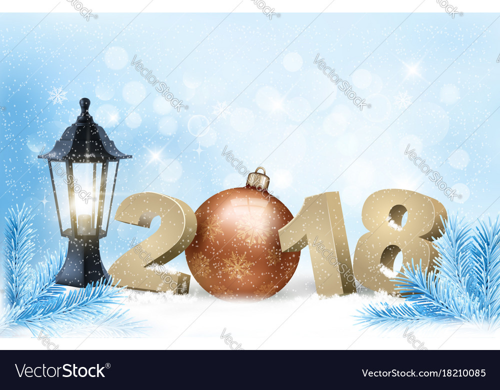 New year background with a 2018 and ball vector image